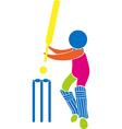 Cricket icon in multicolors vector image
