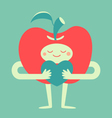 Cute Apple Hugging a Heart vector image vector image