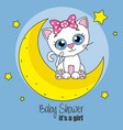 cute cartoon cat on a moon vector image