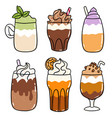 different types coffee drinks cartoon set vector image