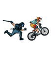extreme sports cyclist riot police with a baton vector image vector image