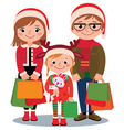 Family with Christmas shopping vector image vector image