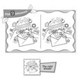 find 9 differences game handmade postcard vector image vector image