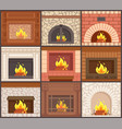 fireplaces set different shapes types of stoves vector image vector image