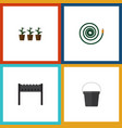 flat icon dacha set of barbecue pail flowerpot vector image vector image