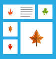 flat icon leaf set of leaf linden frond and vector image vector image