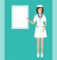 friendly and beauty smiling woman doctor showing vector image vector image