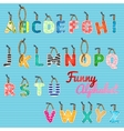 funny alphabet color hanging letters vector image vector image