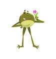 funny frog amfibian animal cartoon character vector image