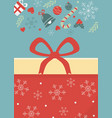 gift box with bow decoration merry christmas card vector image vector image