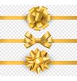gold gift bows with ribbons realistic horizontal vector image vector image