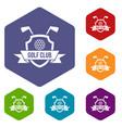 golf club emblem icons set hexagon vector image vector image