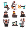 hackers in disguise stealing information and money vector image vector image