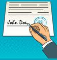 hand sign document pop art vector image
