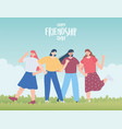 happy friendship day young group women unity vector image vector image