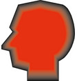 human head profile red silhouette vector image