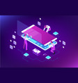 isometric smartphone repair service concept vector image vector image