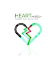 Logo love heart abstract linear geometric vector image
