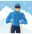 Man skier on mountain winter landscape background vector image vector image