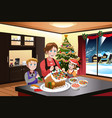 mother and kids making gingerbread house vector image vector image