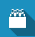 pack of beer bottles icon with long shadow vector image vector image