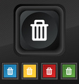 Recycle bin icon symbol Set of five colorful vector image