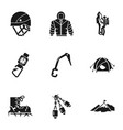 rock climbing icon set simple style vector image vector image