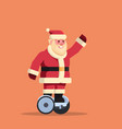 santa claus ride electric scooter merry christmas vector image