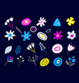 set multicolored flowers in a flat style vector image vector image