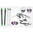 Set Ski Club Team Mountain and Outdoor Adventures vector image