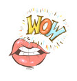 sexy open female mouth and wow speech bubble vector image vector image