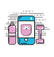 smartphone with weight inside and dumbbell with vector image vector image