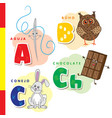 spanish alphabet needle owl chocolate rabbit vector image vector image