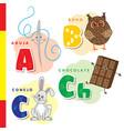 spanish alphabet needle owl chocolate rabbit vector image vector image