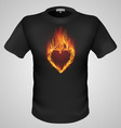 t shirts Black Fire Print man 21 vector image vector image