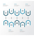 trade outline icons set collection of briefcase vector image vector image