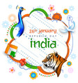 tricolor indian banner for 26th january happy vector image vector image