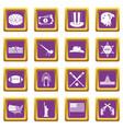 usa icons set purple vector image vector image