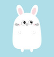 white bunny rabbit funny head face big eyes vector image vector image