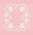 white lace floral grid pattern on a pink vector image vector image