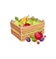 Wodden Crate Full Of Garden Fruits Farm And vector image