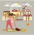 woman sings cleaning vector image