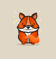 cute fox isolated on gray backgroun vector image