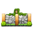 Fence made of bricks and wood vector image
