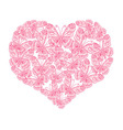 heart from red butterflies vector image