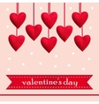 Template greeting card with red hearts vector image