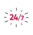 24-7 service label 24 hours 7 days vector image