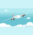 airplane in flight with white clouds and blue sky vector image vector image