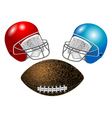 american football helmet and ball vector image vector image