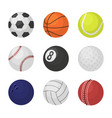 ball collection sports equipment game balls vector image vector image